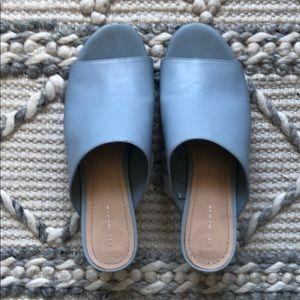Zara Light Blue Leather Mule Slide Sandals